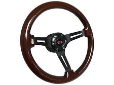 1969 - 1989 Camaro Mahogany Wood Steering Wheel Kit, Hub & Cross Flags Emblem