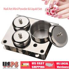 3Pcs Mini Stainless Steel Nail Tips Cup Dappen Dish Liquid Powder Holder US