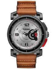 Diesel Men's Light Brown Leather Strap Hybrid Smart Watch 47x58mm DZT1002
