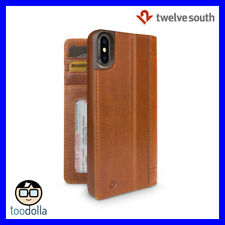 TWELVE SOUTH Journal genuine leather folio wallet case, iPhone X, Cognac Brown