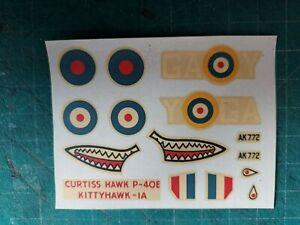 AIRFIX CURTISS HAWK P-40E KITTYHAWK 1A VINTAGE DECALS 1:72 SCALE, AK772