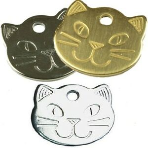 Quality 22mm Cat Face Personalised Engraved Tags Dog Cat Pet ID Discs Disks Name