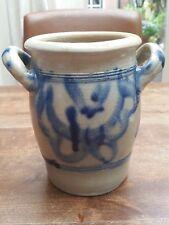 Vintage German Blue Salt Glazed Pottery Westerwald Crock Jar Pot w/2Handles
