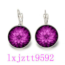 Mandala purple Glass cabochon(18MM)Lever Back Earrings Silver women Jewelry