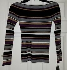 $59 NWT INC Womens Striped Ribbed Shimmer Knit Top Size M Medium
