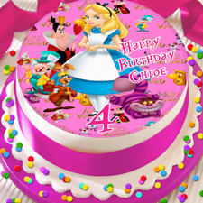 ALICE IN WONDERLAND PERSONALISED BIRTHDAY 7.5 INCH EDIBLE CAKE TOPPER B-067G
