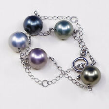 """16"""", vtg Sterling silver handmade circle necklace, 925 w/ pearl beads"""