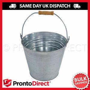 12L Galvanised Metal Bucket Strong Steel Wooden Handle Water Coal Fire Garden