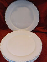 American Atelier Set of 5 Bianca Bead Pattern Dinner Plates NEW FACTORY SECONDS