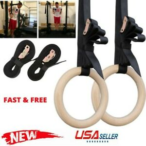 28mm Wooden Gymnastic Olympic Rings Crossfit Gym Fitness Training Exercise US