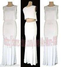 Sexy Cut Out Waist Cocktail Casual Party Club Beach Long Maxi Dress White SMALL