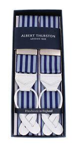 "NWT ALBERT THURSTON BRACES suspenders stripe rigid 1.58"" luxury handmade England"