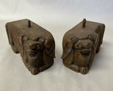 PAIR OF ANTIQUE CARVED WOOD FIGURAL KIRIN DRAGON TABLE LEGS FURNITURE SALVAGE