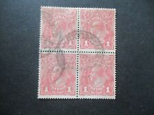 KGV Stamps:  Carmine Pink Block of 4 Used  -  Must Have  (h294)