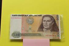 1987 Peru 500 Intis Banknote P-134 AU/UNC condition