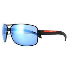 e15a4c96b4 Prada Sport Sunglasses 54IS DG02E0 Black Rubber Blue Mirror Polarized
