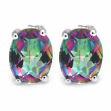 9x7mm 3.6ct Genuine Oval Mystic Fire Topaz and Sterling Silver Stud Earrings