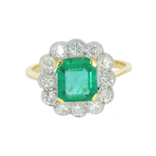 18ct Yellow Gold Emerald & Diamond Cluster Ring (Vintage/Secondhand)