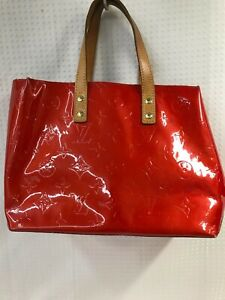 Auth LOUIS VUITTON Vernis Reade PM Hand Bag  M91088 Red  From Japan 0330*419