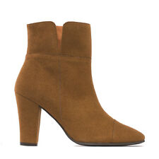 Woman vegan high heel elegant ankle boot on soft micro suede breathable and eco