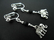 A PAIR TIBETAN SILVER DANGLY ELEPHANT & BLACK CRYSTAL  CLIP ON EARRINGS. NEW.
