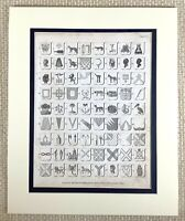 1830 Antique Engraving Heraldry Heraldic Crest Shield Armorial Art Print Fox