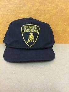 Vintage Automobili Lamborghini Adjustable Snapback Cap Hat Black with Rope New