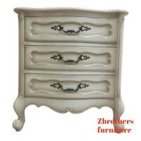 Vintage French Provincial Carved Painted Lamp End Table Night Stand A