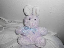 "KIDS PREFERRED  PLUSH LOVEY SOFT BABY 7"" purple lavendar bunny rabbit blue bow"