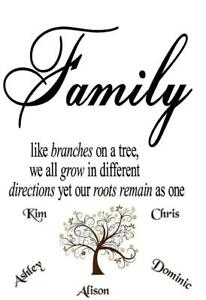 Personalised Family Tree Quote add your Names Canvas Print Wall Art Picture