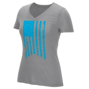 Adidas Women's Grey July 4th USA Geo Flag V-Neck 60/40 Go To T-Shirt AT2229