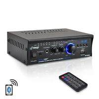 NEW Pyle PCAU48BT 2 x 120W Bluetooth Stereo Power Amplifier USB/SD AUX & Remote
