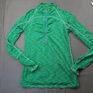 Athleta Women's Size Small 1/4 Zip Pullover Green Running Long Sleeve Thumbholes