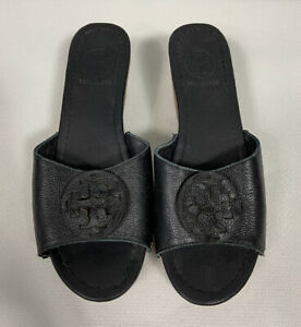 Tory Burch Wedge Slide 8.5 Black Patti Tumbled Leather