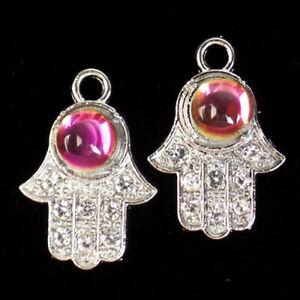 2Pcs Tibetan Silver Inlay Rhinestone Rainbow Crystal Hand Pendant Bead R03857