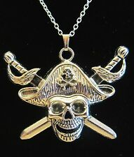"NEW 18""  925 Sterling Silver Chain Pirate Skull Swords Pendant Necklace Nice!!"