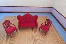 Muñeca casa muebles victoriano caoba/Rojo Silla Alta posterior de 2x 1.12th