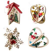 Supplies Xmas Tree Decorations Christmas Decor Wooden Ornaments 3D Pendant