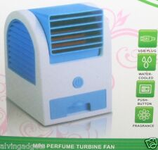 Portable Bladeless Air Conditioner USB Mini Cooling Turbine Fan(Blue)
