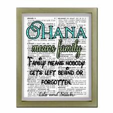 Lilo & Stitch Quote Ohana Means Family Upcycled Dictionary Art Print Family Love