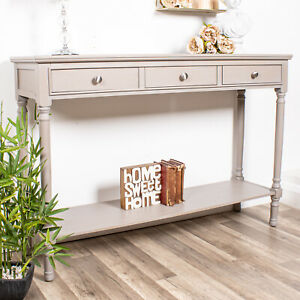 Large Taupe Console Table  Dressing 3 Drawer Wooden Shelf Storage Slim Hallway