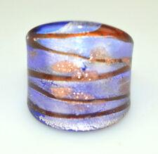 New Huge Venetian Art Glass Light Blue & Brown Ring Metallic Goldstone Size 8.75