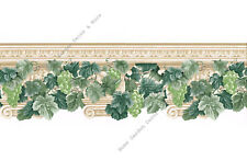 Green Grape Ivy Vine Beige Egg Dart Capital Crown Molding Wallpaper Border