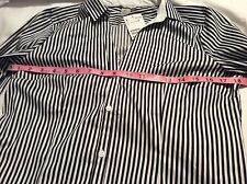 H&M Womens Button Down Shirt Long Sleeve Striped Sz 12 Blouse Black and White