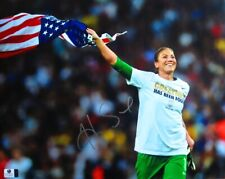 Hope Solo Autographed 11X14 Photo Smiling and Running with Usa Flag Gv806542