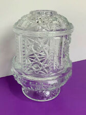 CLEAR FAIRY LAMP Indiana Glass - Stars & Bars 2 Piece Glass Lamp Tea Light NICE