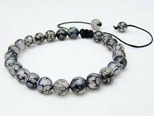 Men's Shamballa bracelet all 8mm Natural Dragon Veins Agate STONE beads