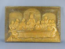 Painting Sculpture Last Dinner on board Wood 76CM Bas-Relief Xx Century
