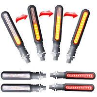 4x Motorcycle Bike Flowing LED Turn Signal Indicator & DRL Lamp Tail Brake Light