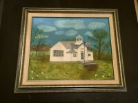 1990 Ripley No. 6 Schoolhouse IA Oil Painting On Canvas In Wood Frame by M Asche